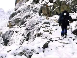It snowed overnight at Gokyo, so I had to break my own trail returning to Namche Bazaar