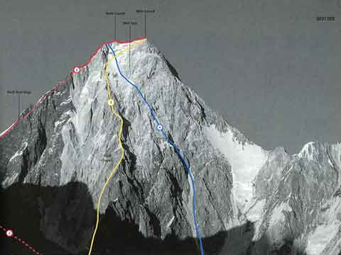 Gasherbrum IV West Face With Climbing Routes - 2. Northwest Ridge 1986, 3. West Face Central Spur 1997, 4. West Face 1985 - World Mountaineering book