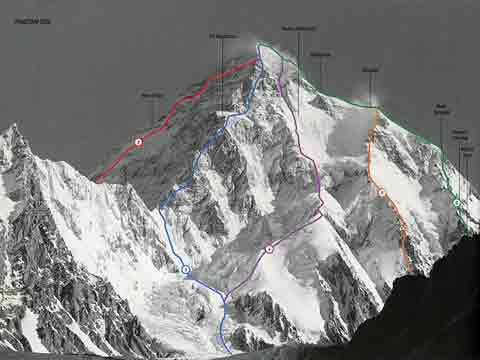 K2 Pakistani Side Climbing Routes: 2.West Ridge, 3. Southwest Pillar - The Magic Line, 4. South Face Polish Route, 5. South-Southeast Cesen Route, 6. Abruzzi Spur - World Mountaineering: The World's Great Mountains by the World's Great Mountaineers book