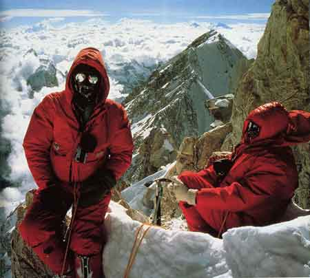 Peter Boardman and Joe Tasker Resting At The Pinnacles Just Below The Kangchenjunga Summit May 15, 1979 - World Mountaineering: The World's Great Mountains by the World's Great Mountaineers book